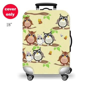 (Cover only) Elite Luggage Cover / Suitcase Cover ( Forest Owl )-large