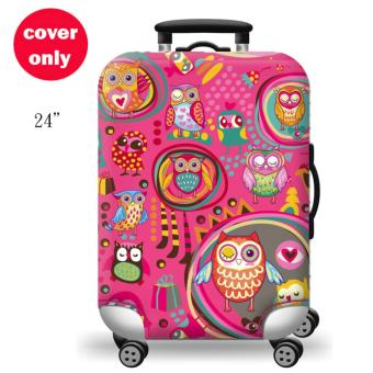 (Cover only) Elite Luggage Cover / Suitcase Cover ( Pink Chic Owl)-medium