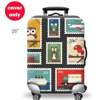 (Cover only) Elite Luggage Cover / Suitcase Cover ( Stamp ) - small