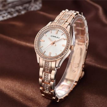 CRRJU Luxury Diamond Steel Band Women Watches Quartz Water-Proof Business Watch For Ladies Elegant Wristwatch Gift + Box - intl