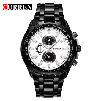 CURREN 8023 men watches quartz watch waterproof black white