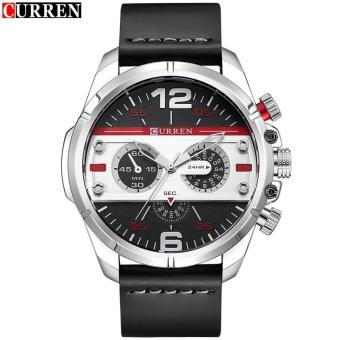 Curren Leather Strap Unisex Watch 8259 (Black/Silver/Red)
