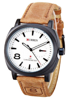 Curren Men's Brown Leather Strap Watch
