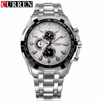 Curren Stainless Steel Strap Unisex Watch 8023 (Silver/White)