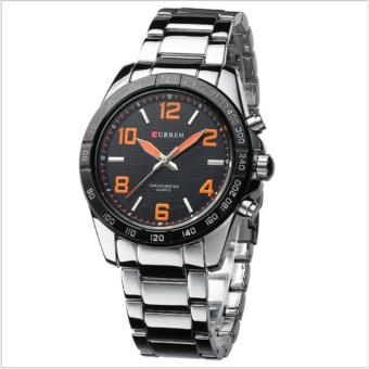 Curren Stainless Steel Strap Unisex Watch 8107 (Silver/Black/Orange)