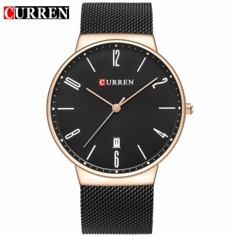 Curren Watches Men's Luxury Brand Date Stainless Steel MeshBracelet Quartz Analog Mens Fashion Watch Sport Watch Wrist Watches- Black + Gold + Black - intl
