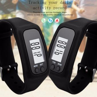 D&D Couple Fashion Digital LCD Pedometer Run Step Walking Distance Calorie Counter Watch Bracelet Black