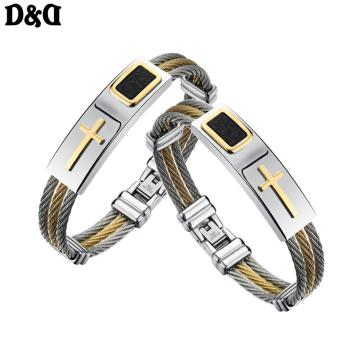 D&D Cross Jesus Premium Stainless Steel Bracelet Set of 2