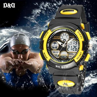 D&D LED Digital Multi-function Outdoor Sport Black Silicone Strap Watch