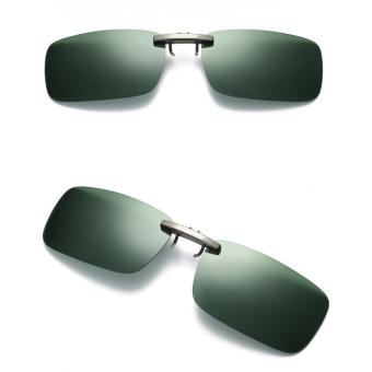 Detachable Night Vision Lens Driving Metal Polarized Clip On Glasses Sunglasses - intl