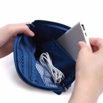 Digital Gadget Devices Cable Pouch (Dutch Navy) with Free TravelMate Toiletry Kit Organizer (Color may vary)