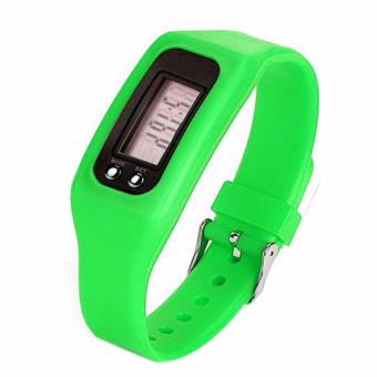 Digital LCD Pedometer Run Walking Distance Watchband BraceletFitness Tracker (Green)