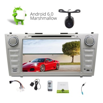 Double din Car DVD Player with Android 6.0 Quad-core Stereo System in Dash 8''Car Radio Stereo GPS Navigation Bluetooth Headunit support CD DVD 1080P Video Player Cam-in USB/SD WIFI OBD 4G/3G FM/AM/RDS CAN-BUS Special for TOYOTA CAMRY (2007-2012)