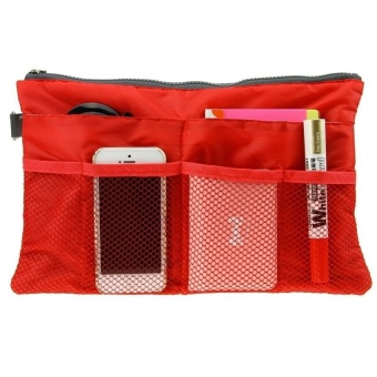 Dual Bag Organizer (Red) with Free Travel Mate Toiletry KitOrganizer (Color may vary)