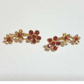 Ear Cuff Earrings (Stone Red)