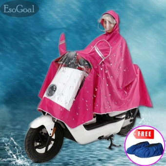 EsoGoal Rain Poncho,Lengthen Reflective Raincoat Waterproof Motorcycle Scooter Rain Hoodie Coat With Mirror Slot (Hotpink) - intl
