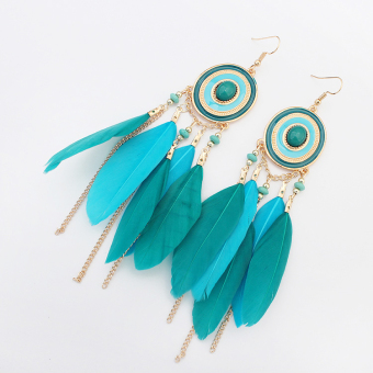 European and American tassled New style gem feather earrings