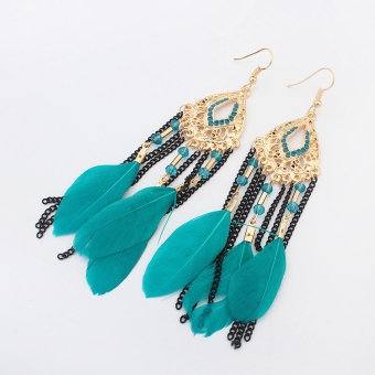 European and American tassled New style magazine feather earrings