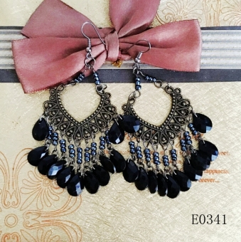 European and American tassled style beaded bracelet earrings bronze earrings