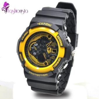 EXPONI Unisex Black Silicone Rubber Strap Sports Watch 3250(Black/Yellow) Price Philippines