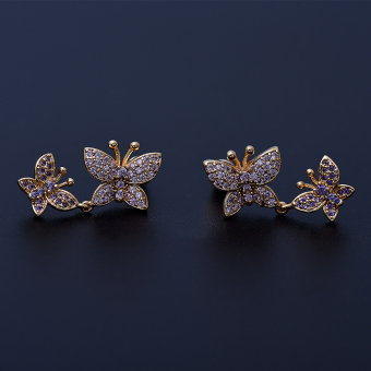 Exquisite European and American AAA zircon small Butterfly stud earrings