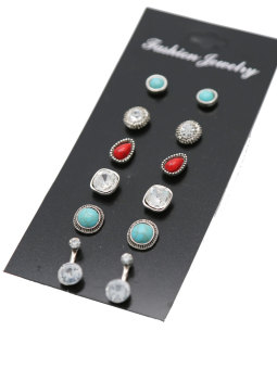 Exquisite European and American small alloy inlaid gemstone stud
