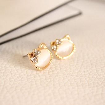 Exquisite Princess Pink opal earrings stud