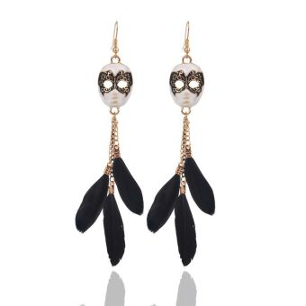 Famous European and American tassled face mask chain feather earrings