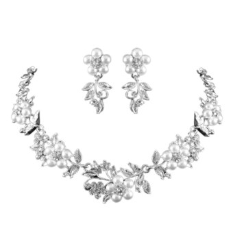 Fang Fang Fashion Crystal Pearl Choker Necklace with EarringsSilver plated Chain Jewelry Sets Wedding Leaf Collar NecklaceEarrings Set
