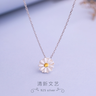 Fapo Japan and South Korea small Daisy short chain necklace