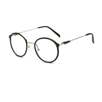 Fashion Glasses Frame Vintage Retro Round Glasses BlackGold Frame Glasses Plastic Frames Plain for Myopia Men