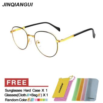Fashion Glasses Frame Vintage Retro Round Glasses Gold Frame Glasses Titanium Frames Plain for Myopia Men Eyeglasses Optical Frame Glasses Oculos Femininos Gafas - intl