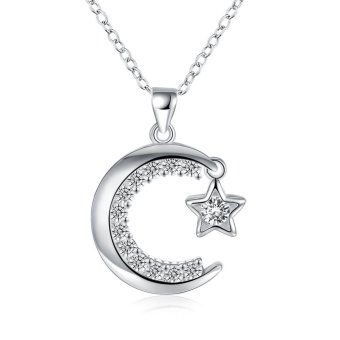 Fashion Popular Silver Plated Necklace Moon and Star Pendant Necklace With Zircon Romantic - intl