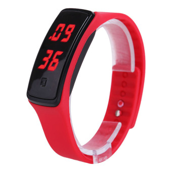 Fashion Sport LED Women Silicone Rubber Strap Touch Screen Digital Bracelet Watch (Red)