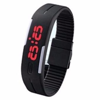 Fashion Touch Screen Waterproof Candy Color Sport LED Watch (Black)