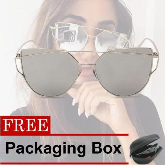 Fashion Women Sunglasses Metal Frame Mirror Big Lens Eyewear Shades Glasses #BLN8822 (Silver) with Free Packaging Box