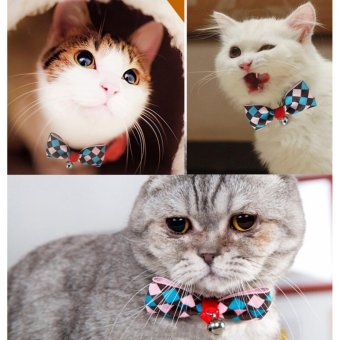 Fashionable Pet Product Cat Dog Collar Adjustable Pet Bow Tie TeddyTie Accessories Bowknot Pet Supplies With Bell - intl