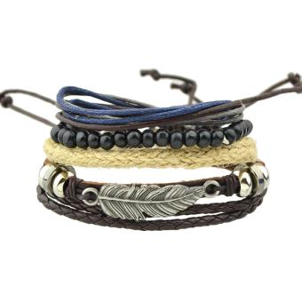 Feelontop Bohemian Style Multilayers Pu Leather Beads AdjustableWrap Bracelets - intl Price Philippines