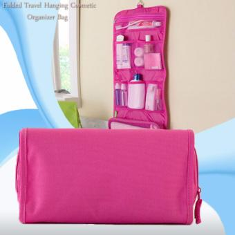Folded Travel Hanging Cosmetic Organizer Bag (Pink)