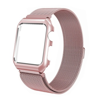 For Apple Watch Band, Milanese Loop Stainless Steel replacement Strap Band w/Adapter+Case Cover for Apple Watch iWatch 38 Rose Pink - intl