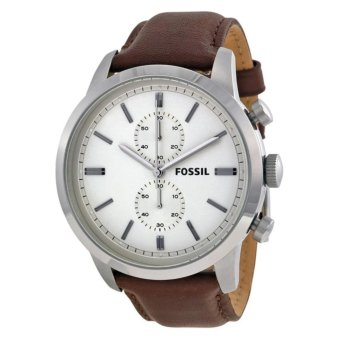 Fossil Townsman Chronograph White Dial Brown Leather Men's Watch FS4865