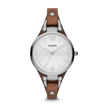Fossil Women ES3060 Georgia Three Hand Tan Brown Leather Strap Watch