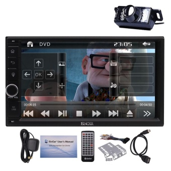Free backup camera+7 Inch 2 Din NO CD DVD Player with touch screen GPS Car Stereo Navigation with 8GB map card In Dash Bluetooth Head unit FM AM Radio Audio System Steering Wheel Control Sat Nav Remote Control - intl