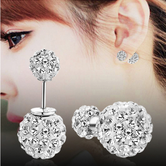 Fun Town s925 simple elegant female fashion crystal sweet earrings sterling silver stud