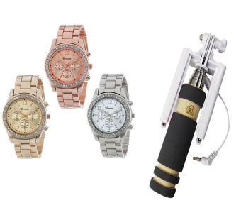 Geneva Classic Round Ladies Bracelet Strap Watch Set of 3 (Multicolor) With 13.5cm Mini Foldable All-In-One Monopod with Remote Clicker