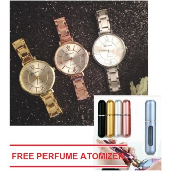 Geneva Euki Slim Women's Wrist Watch 3 set (Rosegold,Gold,Silver) with free 1 pc Perfume Atomizer (color may vary)