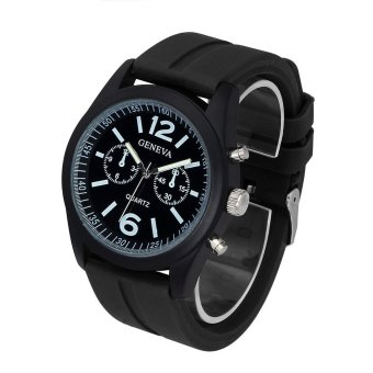 Geneva Fashion Unisex Silicone Analog Quartz Wrist Watch Black