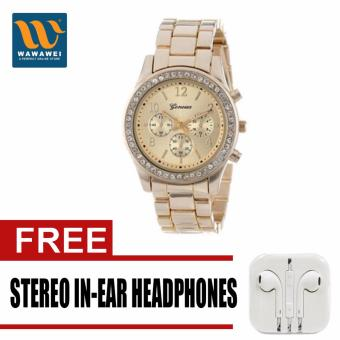 Geneva Lady's Gold Bracelet Strap Watch with free Stereo In-EarHeadphone (Color May Vary)