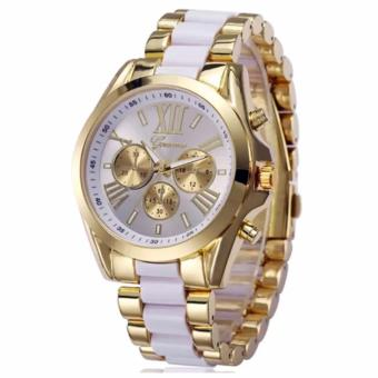 Geneva Three Eyes Strip Women's Two-Tone Stainless Steel StrapWatch 179 (Gold/White)