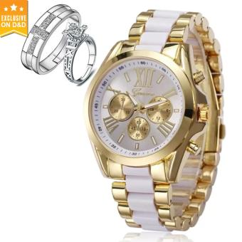 Geneva Women's Casual Fashion Steel-belt Quartz Watch (Gold/White) With PY-1 Opened Couple Rings